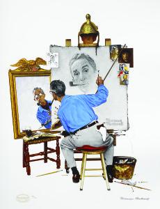 Triple Self Portrait, Norman Rockwell