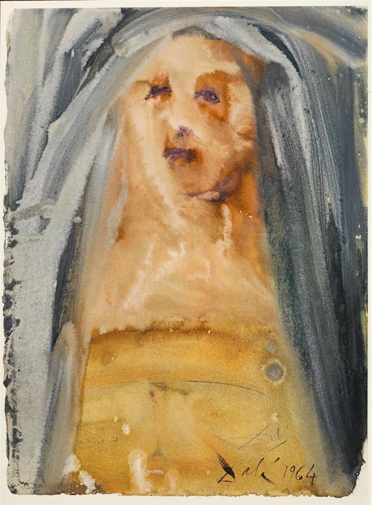 """Plange, virgo, accincta sacco"" (""Lament, virgin, girded with sackcloth,"" 1964). Lithograph from Salvador Dali's Biblia Sacra series."