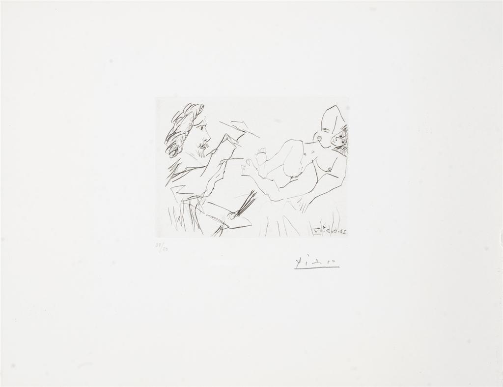 """""""Peintre et Modele sur un Lit"""" (1968). Etching from Pablo Picasso's 347 Series."""