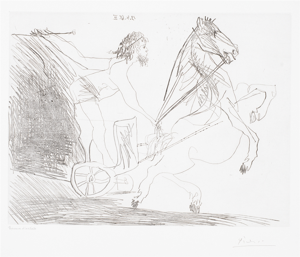 """""""Television: Course de Chars a L'Antique II"""" (1968). Etching from Pablo Picasso's 347 Series."""