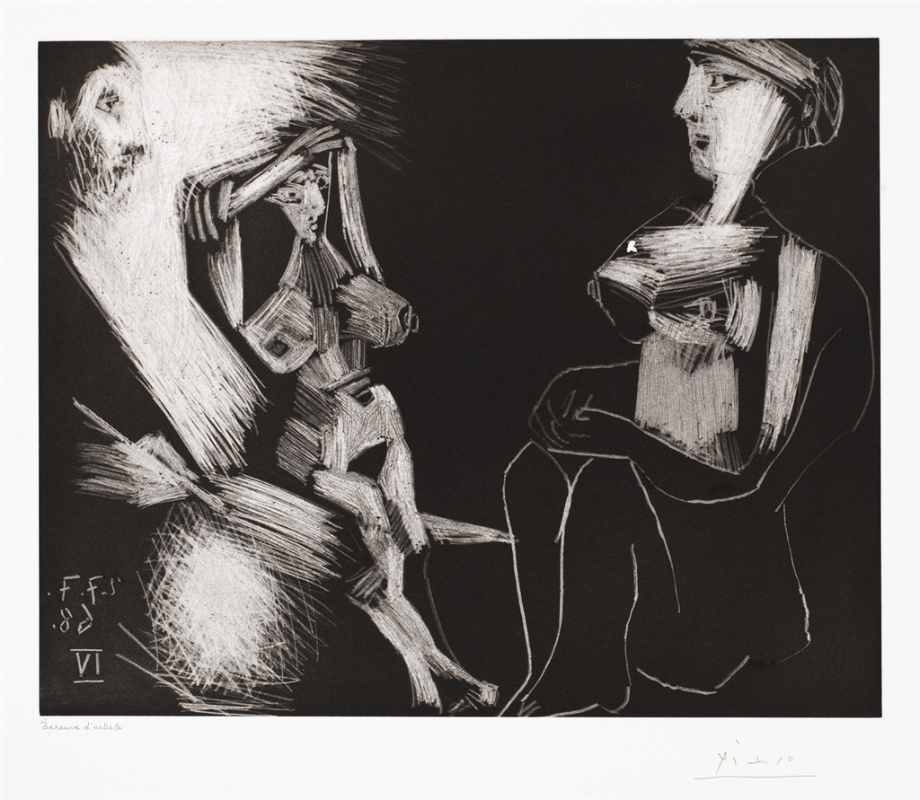 """""""Homme avec Deux Femmes Nues"""" (1968). Etching from Pablo Picasso's 347 Series."""