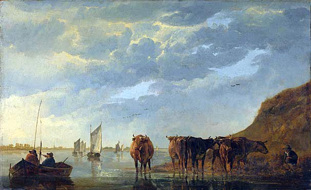 """""""Herdsman with Five Cows by a River"""" (1650) by Aelbert Cuyp, National Gallery of London."""