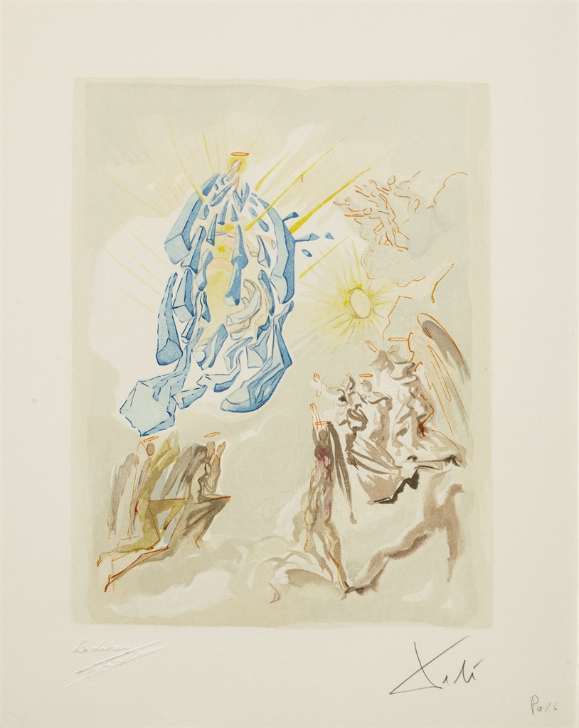 """""""Meeting of the Forces of Luxury"""" (Dante recouvre la vue; 1960). From """"Divine Comedy—Paradise 26,"""" Salvador Dalí."""