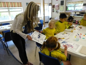 Leslie Lew works with children at the Children's Choice Learning Centers. (WWJ/Pat Sweeting)