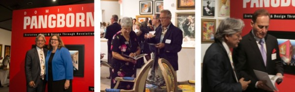 Dominic and the museum's director Amy Reimann; guests consult the collection's catalog amid some of the artist's furniture designs; PW founder and CEO Albert Scaglione and Dominic discuss the exhibit.