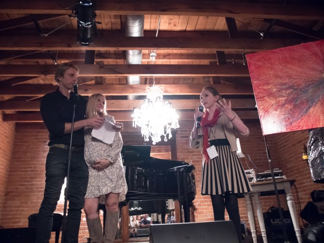 "Autumn de Forest Presenting ""Universe of Love"" to Kristen Bell and Dax Sheppard during the This Party Saves Lives Event."