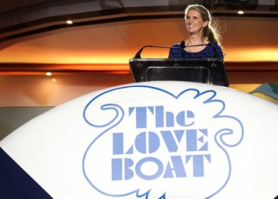 Jan Swartz, President of Princess Cruises, speaks on the Regal Princess during its North American debut and naming ceremony. (Photo Marc Serota/AP Images for Princess Cruises).
