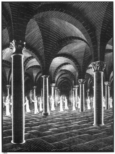 """""""Procession in Crypt"""" by M. C. Escher"""