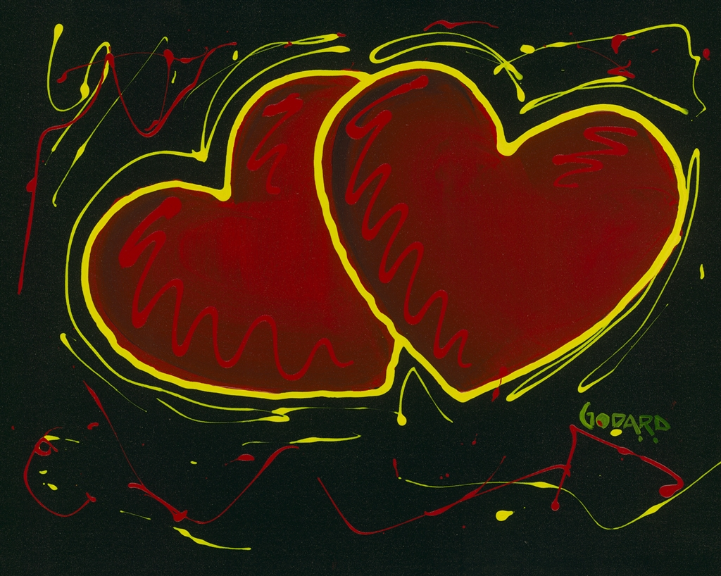"""Hearts of Hope on Black"" (2015), Michael Godard"