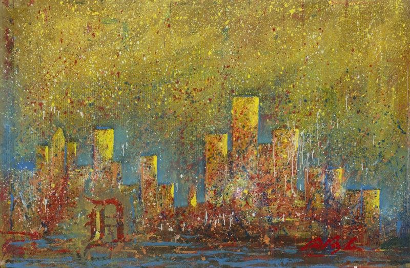 """Detroit Skyline"" (2015) by Dominic Pangborn"