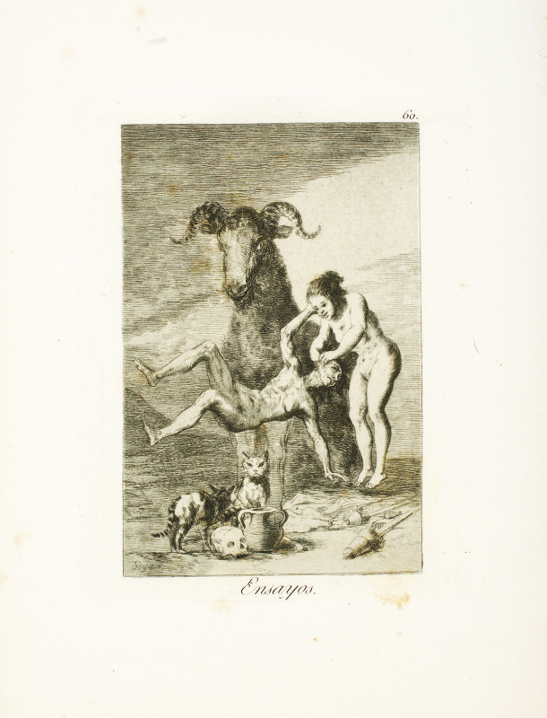 """Trials"" (c. 1799). Etching from Francisco Goya's Los Caprichos series."