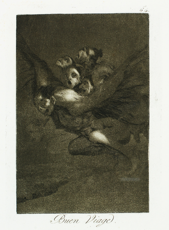 """Bon Voyage"" (c. 1799). Etching from Francisco Goya's Los Caprichos series."