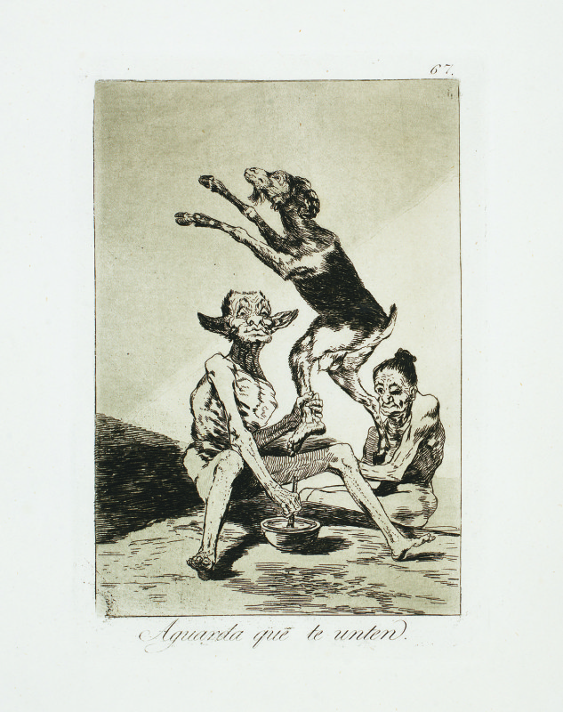 """Wait till you've been Anointed"" (c. 1799). Etching from Francisco Goya's Los Caprichos series."