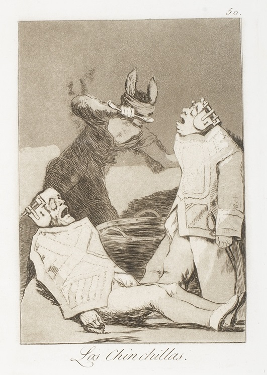 """Los chinchillas"" (c. 1799). Etching from Francisco Goya's Los Caprichos series."