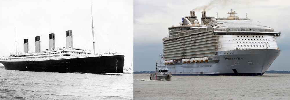 Giants Of The Sea How Modern Cruise Ships Size Up To The Titanic - Biggest cruise ship ever compared to titanic
