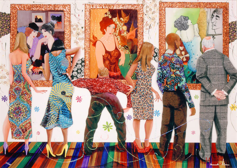 """""""Spectators at the Tarkay Exhibition"""" (2016), Marcus Glenn"""