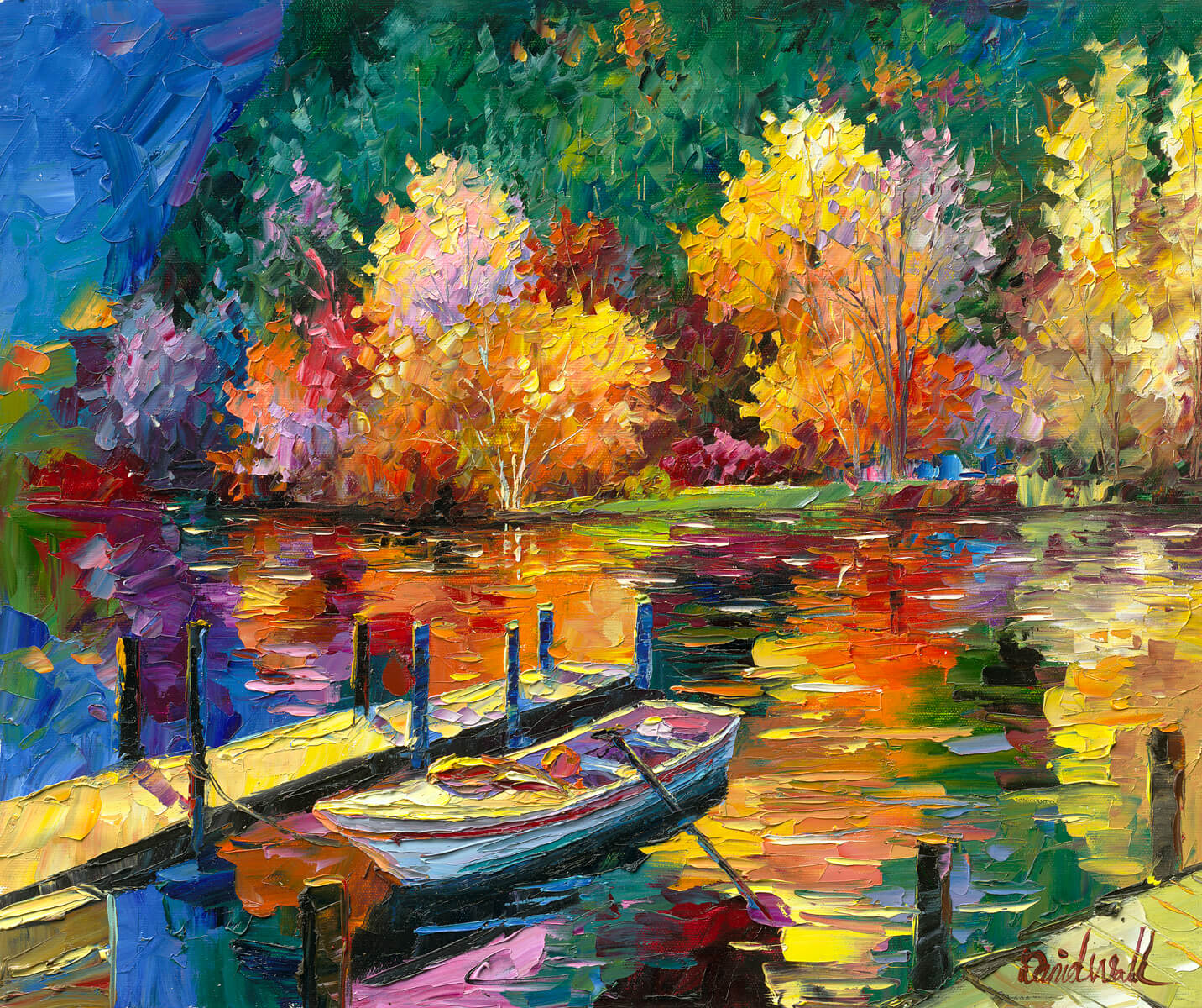 Lake In Painting Wall