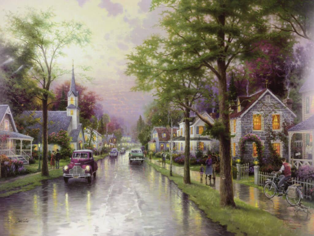 """""""Hometown Morning"""" (2000) Thomas Kinkade."""