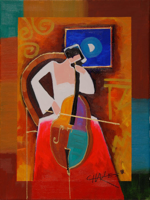 Charles Lee Cellist by Moonlight Park West Gallery