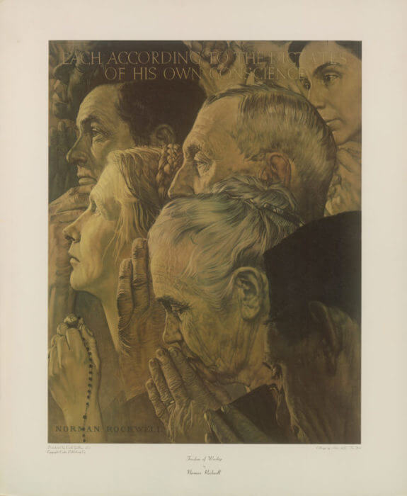 Freedom of Worship Norman Rockwell Park West Gallery, The Four Freedoms
