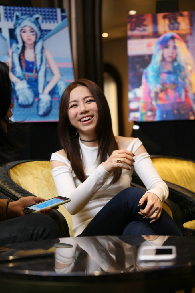 G.E.M. at unveiling of her Peter Max portrait in Shanghai.