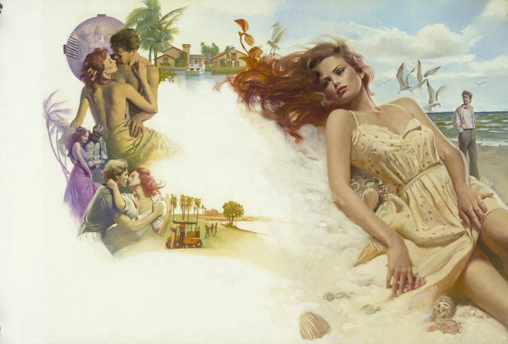 """Oil painting, designed for cover of the novel """"Love Needs No Reason"""" (Avon, 1985), Pino"""