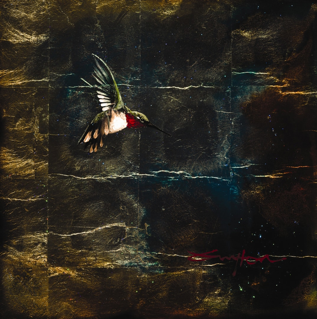 hummingbird painted on gold leaf by Patrick Guyton