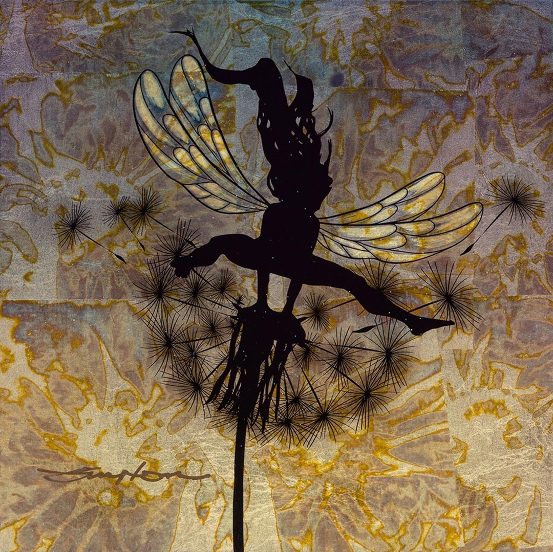 Fairy painted on gold leaf by Patrick Guyton