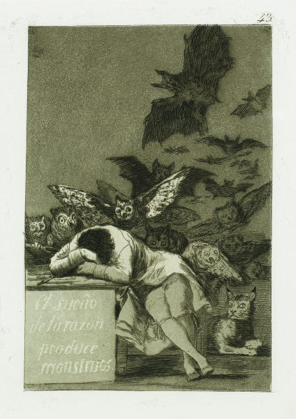 """El sueno de la Razon produce Monstruos"" (The sleep of reason produces monsters) (c. 1799). Etching from Francisco Goya's Los Caprichos""series."