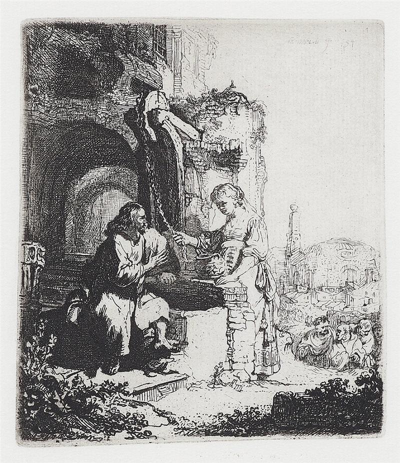 """Christ and the Woman of Samaria: Among Ruins"" (1634), Rembrandt van Rijn"