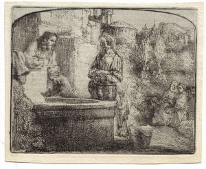 """""""Christ and the Woman of Samaria: Among Ruins"""" (1634), Rembrandt Van Rijn. A 20th/21st Century impression from the """"Millennium Collection,"""" printed by master printer, Marjorie Van Dyke."""