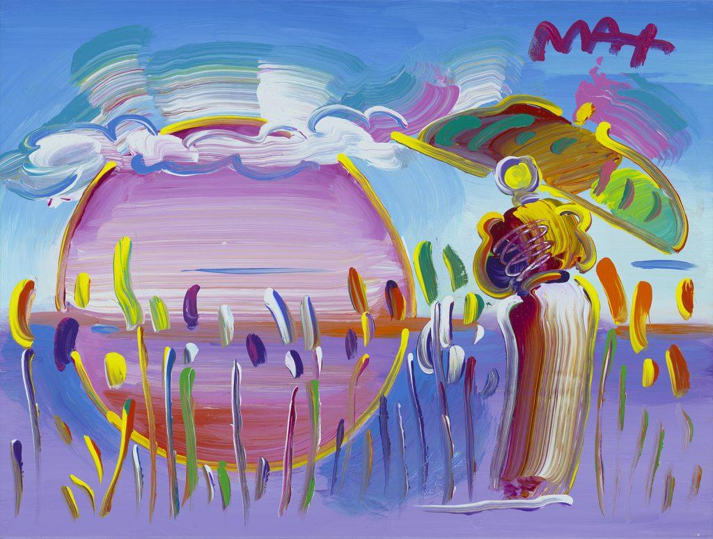 Peter Max Rainbow Umbrella Man in Reeds Ver. II Park West Gallery