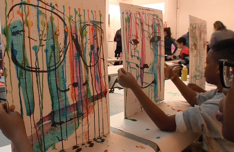 """Artistic prodigy Autumn de Forest contributed her time and talents to help youth in Harlem make their own art at the Art Horizons LeRoy Neiman Art Center during her exhibition """"Autumn de Forest: Selected Works"""" held December 2, 2016 to January 31, 2017."""