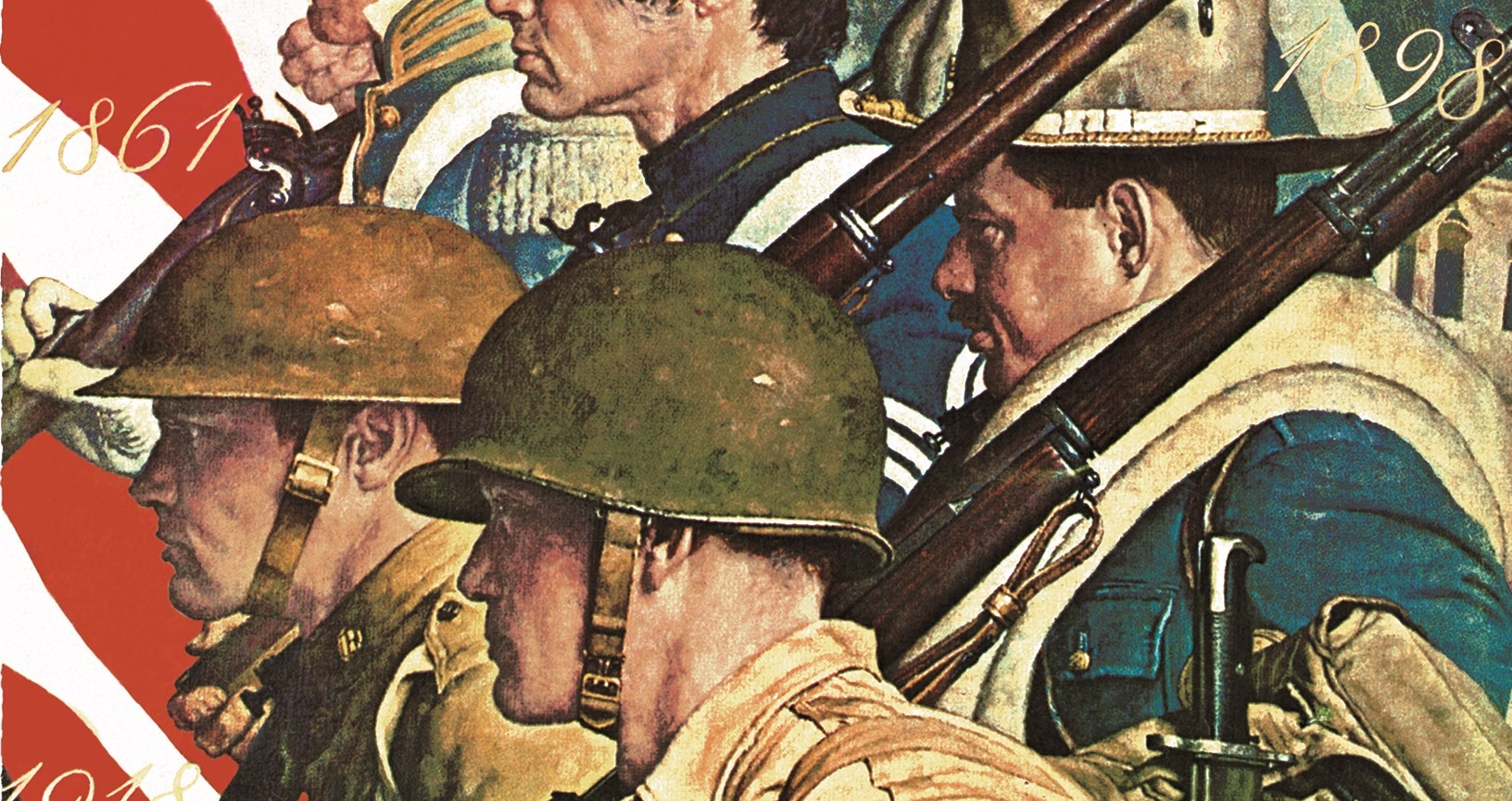 """Detail from """"A Pictorial History of the United States Army"""" by Norman Rockwell"""