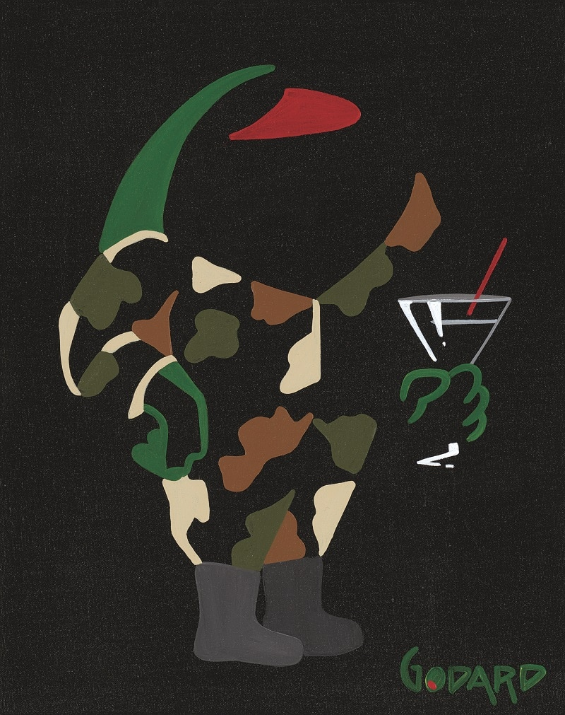 """""""Olive in Fatigues with Martini,"""" Michael Godard"""
