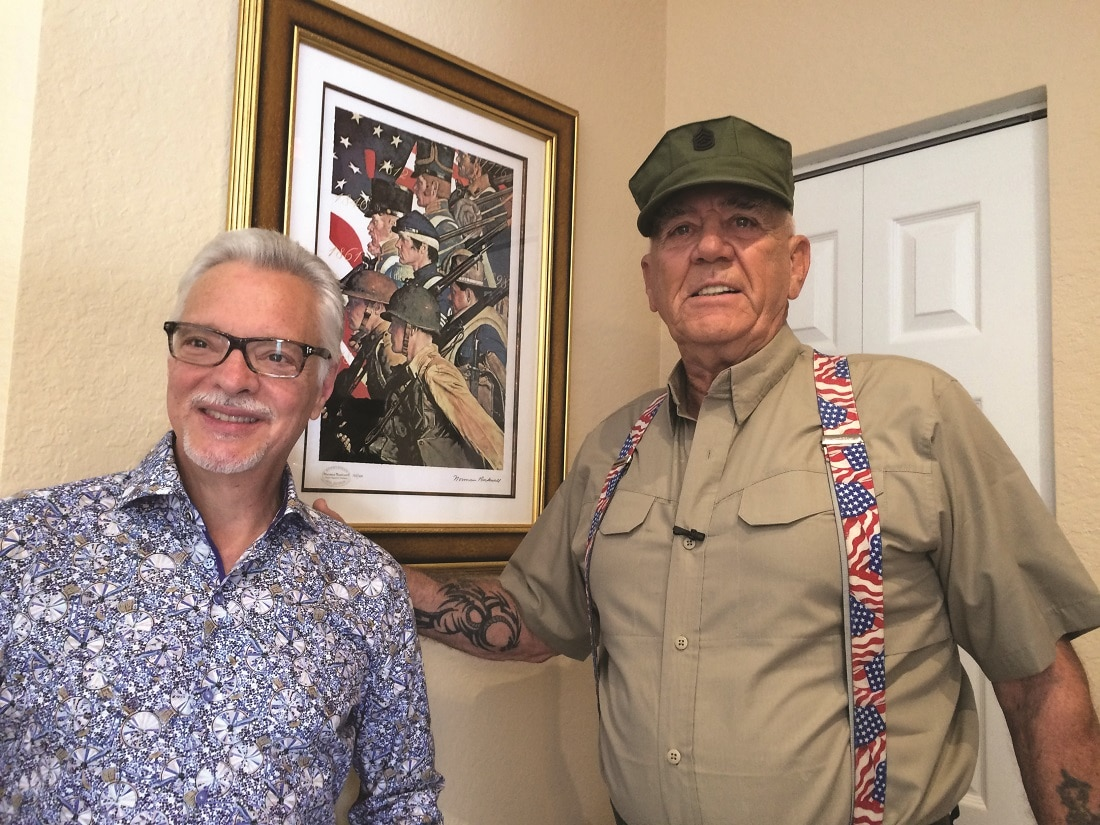 Park West Gallery Director Morry Shapiro and retired United State Marine Corps Staff Sergeant, R. Lee Ermey with artwork by Norman Rockwell.