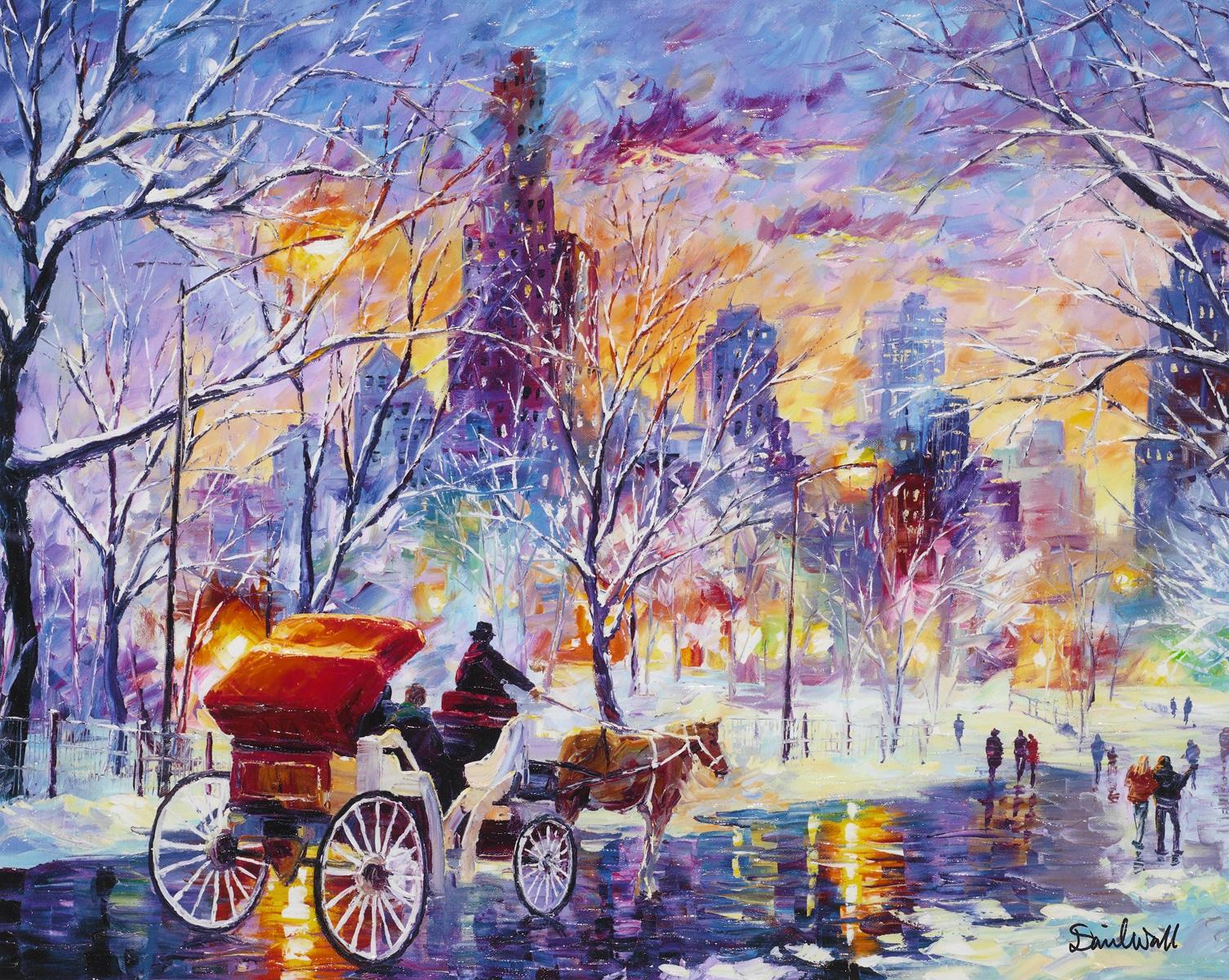 """Snowy New York"" (2014), Daniel Wall, Park West Gallery Winter Art"