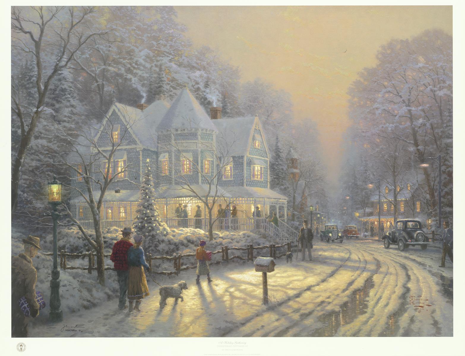"""Holiday Gathering"" (1998), Thomas Kinkade, Park West Gallery Winter Art"