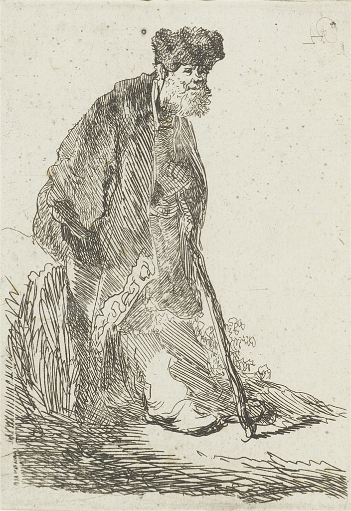 "Etching, ""Man in Cloak and Fur Cap Leaning Against a Bank"" (c. 1630), Rembrandt Van Rijn"