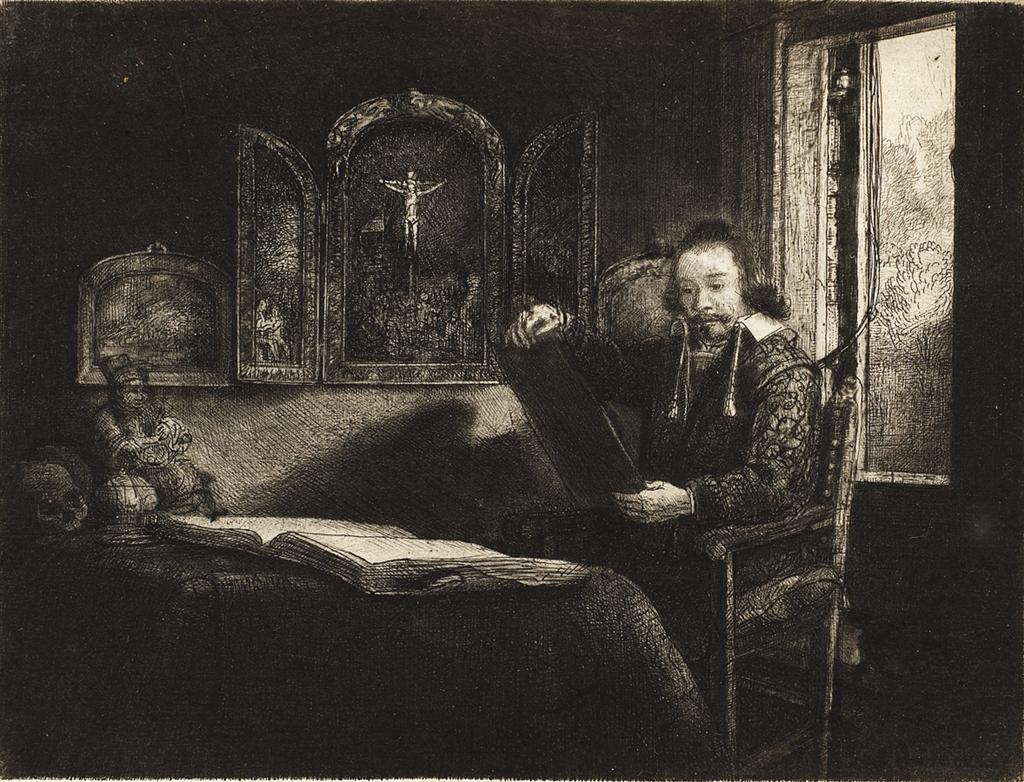 "Etching, ""Abraham Francen, Apothecary"" (c. 1656), Rembrandt Van Rijn"