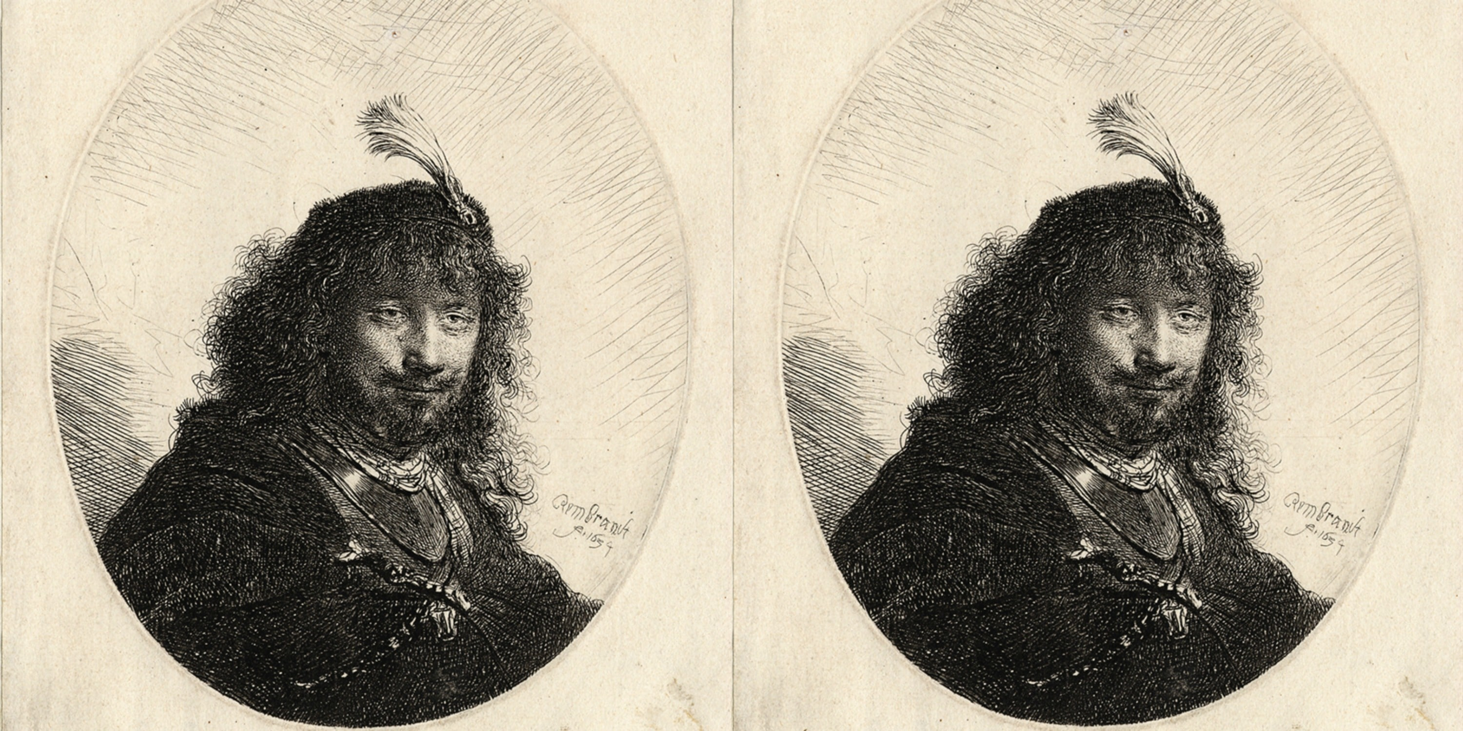 """Etching, """"Self-Portrait with Plumed Cap and Lowered Sabre"""" (1634), Rembrandt Van Rijn"""