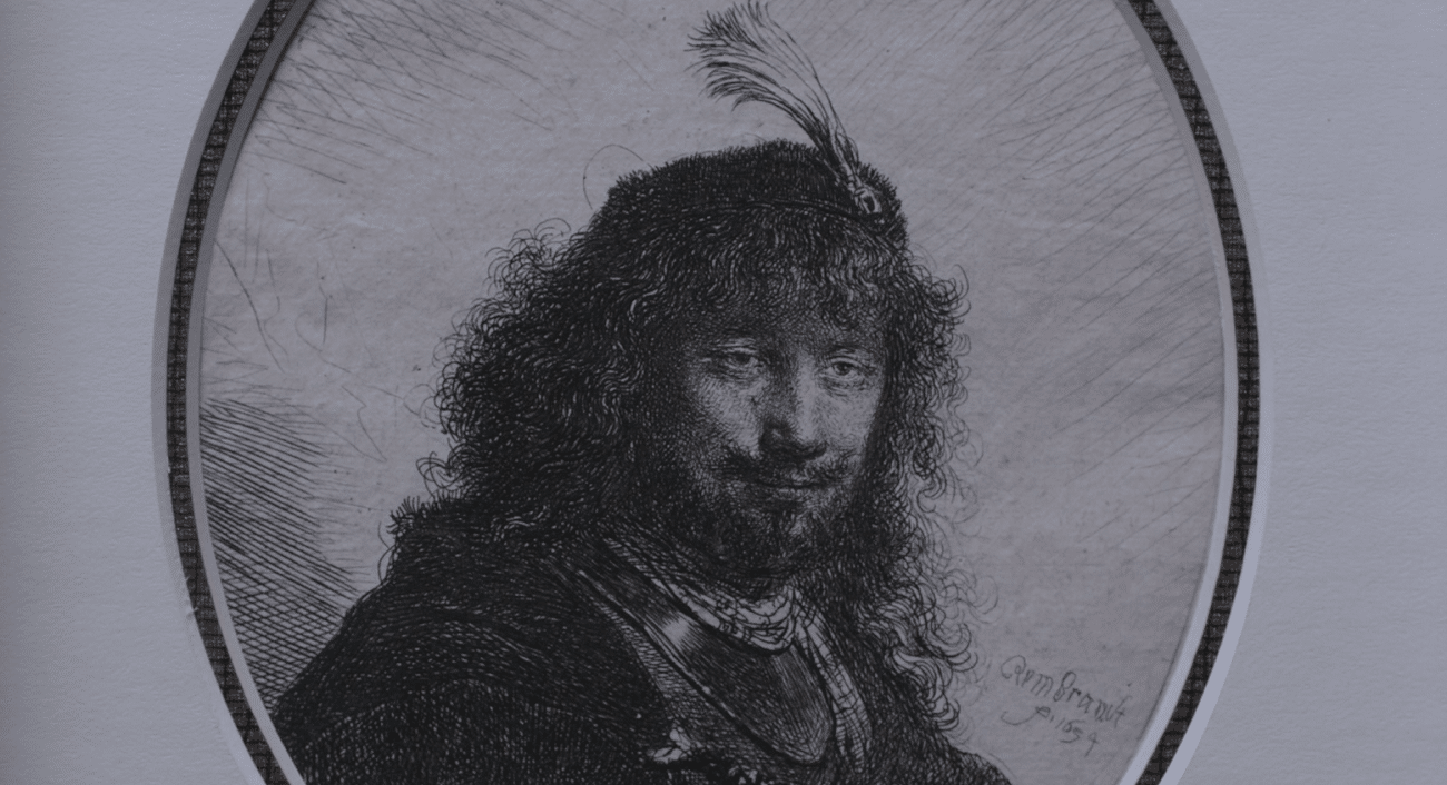 "Etching, ""Self-Portrait with Plumed Cap and Lowered Sabre"" (1634), Rembrandt Van Rijn"
