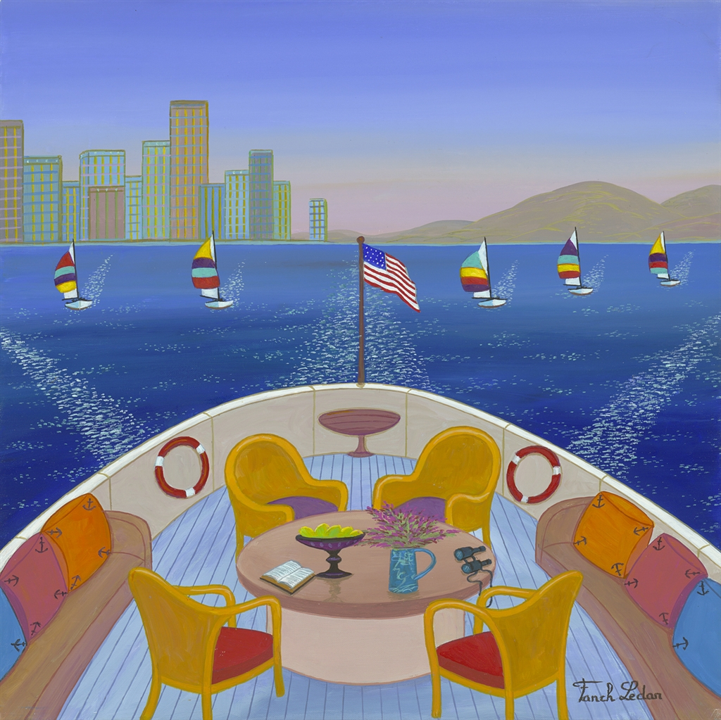 """Cruising in San Diego"" (2016), Fanch Ledan, cruise ship art"