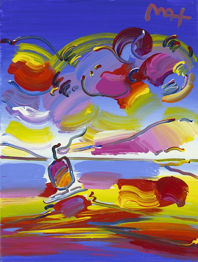 """Sailboat in Spectrum Ver. VII #63"" (2015), Peter Max, cruise ship art"