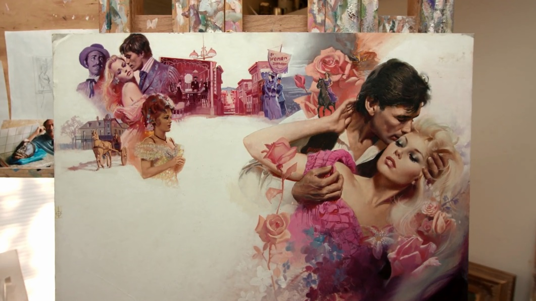 One of Pino's book cover illustrations in his studio.