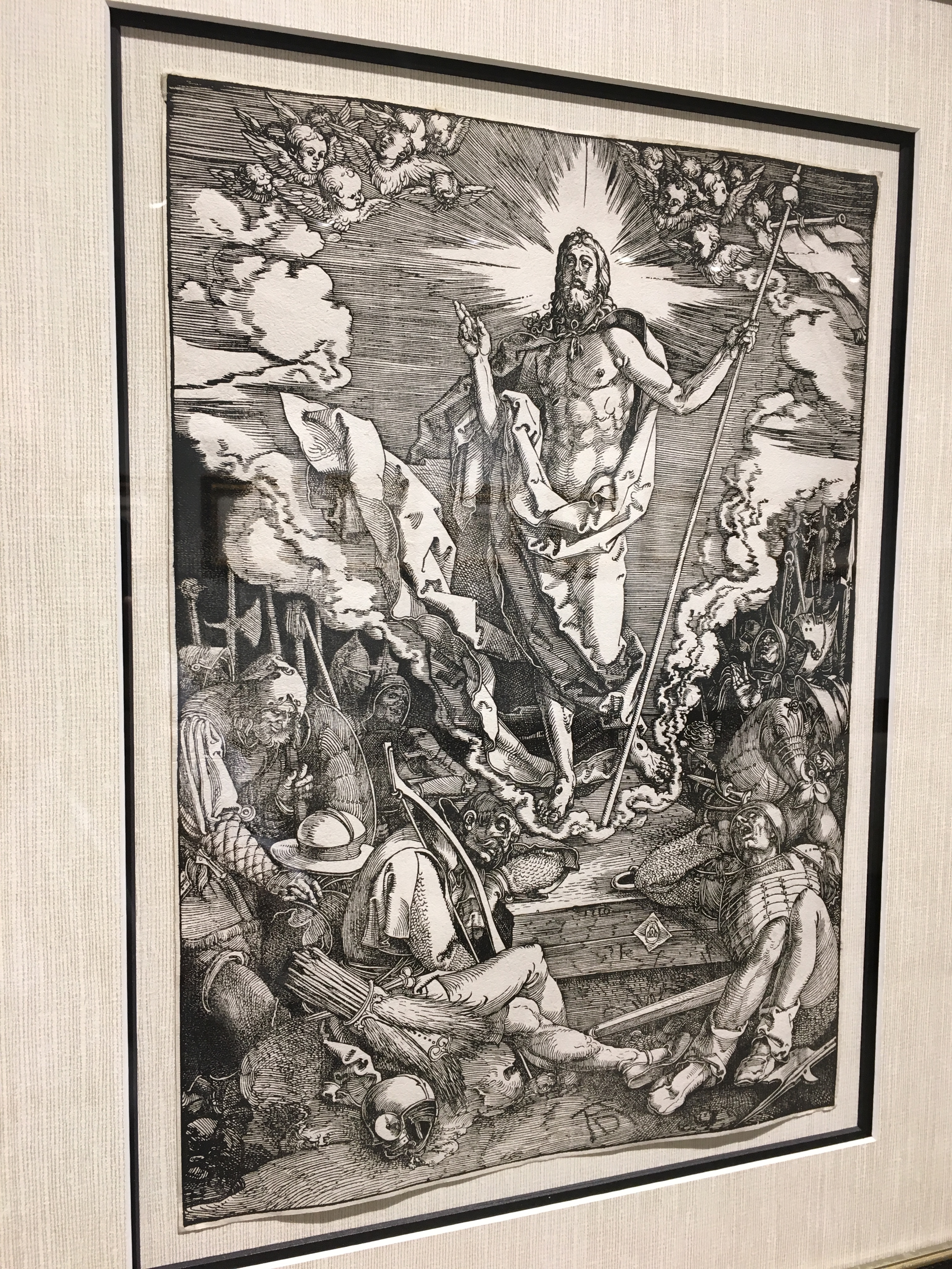 """The Resurrection of Christ"" (1510), Albrecht Dürer, woodcut from ""The Large Passion."" Currently on display at Park West Museum."