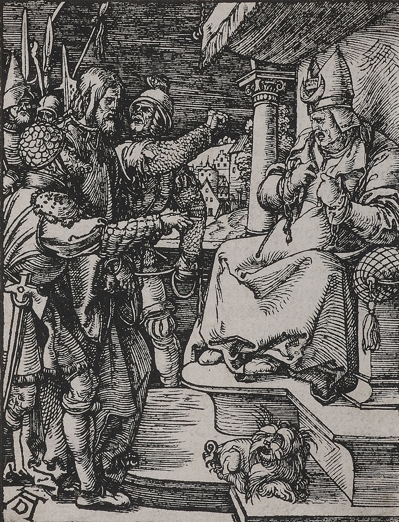 """Christ Before Caiaphas"" (c. 1508-1510), Albrecht Dürer, woodcut from ""The Small Passion"""