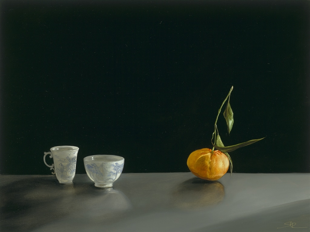 """""""Antique Coffee Cups and Manderin"""" (2017), Rachael Robb"""