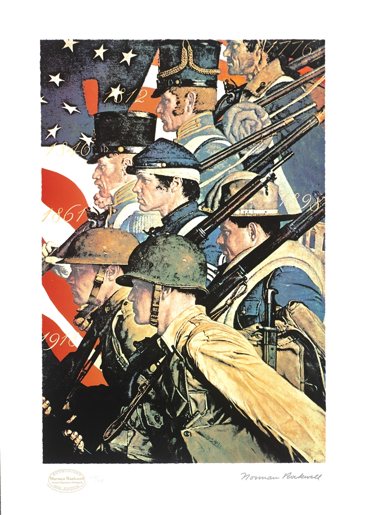 """""""A Pictorial History of the United States Army"""" (c. 1940), Norman Rockwell"""