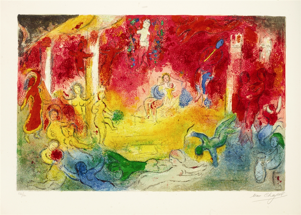 """""""Temple and History of Bacchus"""" (1961), Marc Chagall. From the Daphnis and Chloé suite. On display at Park West Museum."""
